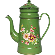 SOLD Green Enamel Hand Painted Floral Coffee Biggin - early 1900s