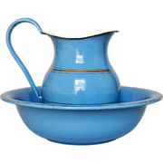 SOLD Provence Blue French Enamel Bath Set - Pitcher & Basin