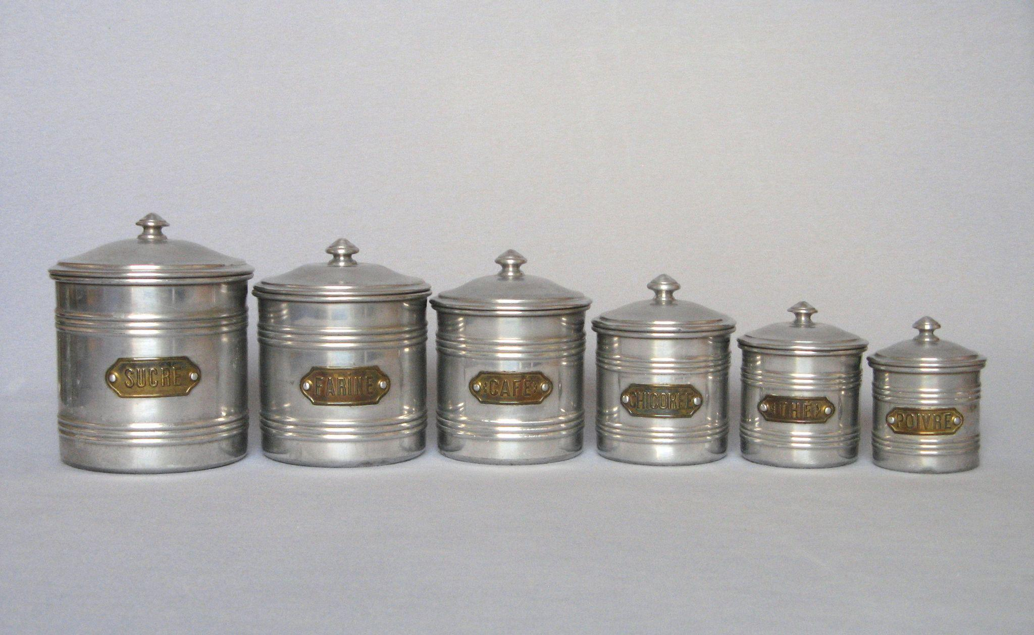 vintage aluminum french kitchen canister set complete