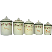 SOLD French Art Deco Canister Set - Floral Band