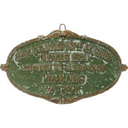 SOLD French PIGEON Award Plaque - 1924