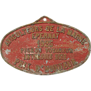 SOLD French Carrier Pigeon Award Plaque - 1925