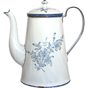 SOLD 19thC French Enamel Graniteware Coffee Pot - Floral Decor