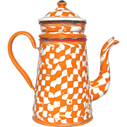 SOLD DROOPY  Check Orange & White French Coffee Pot Biggin