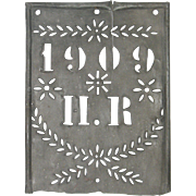 SOLD Aged Zinc Artisan French Stencil Sign / Plaque