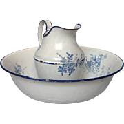 SOLD 1800's French Enamel Bath Set - Floral Pitcher and Basin