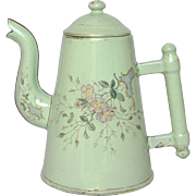 SOLD Exceptional Light Green Enamel French Hand-painted Floral Coffee pot