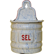 REDUCED Blue Veined French Graniteware Salt Box
