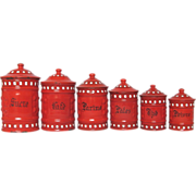 SOLD COMPLETE 6 Piece French Red Enamel Canister Set