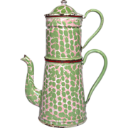 "SOLD Aqua Green, Pink & White ""End of Day"" French Enamel Coffee Pot"