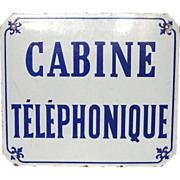 SOLD French Enamel Advertising Sign - Telephone Booth