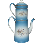 SOLD French Floral Enamel Graniteware Coffee Pot Biggin