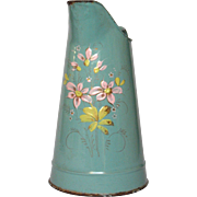 SOLD Hand-Painted Floral French Enamel Graniteware Pitcher - Aqua Green/Tiffany Blue