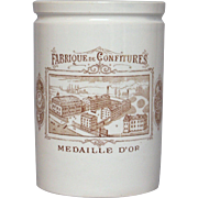 Early French Ceramic Jam Crock - Jelly Jar - Preserves