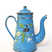 REDUCED Hand-Painted Floral Antique French Enamelware Coffee Pot -late 1800s