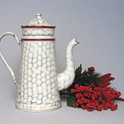 SOLD RED Chickenwire French Enamelware Coffee Pot Biggin