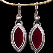 Marquise shape silver locket red velvet feminine earrings