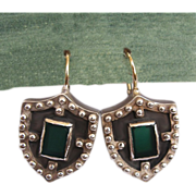 Heraldry shield silver earrings green agate stone upscale jewelry