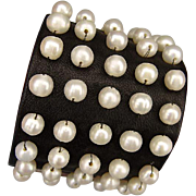 Leather cuff cultured pearls bracelet haute couture fashion handcraft jewelry design