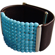 Brown leather cuff turquoise beads silver clasps bracelet