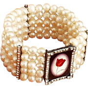 Red tulip cameo silver pendant Swarovski crystals freshwater pearl bracelet upscale