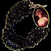 Black obsidian beads bracelet sterling silver pendant glory woman cameo