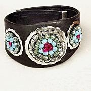 Bold Leather cuff. Contemporary jewelry design. Upscale bracelet.