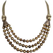 Gold tone pearls necklace leather silver choker