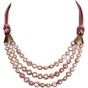 Nude-pink 3 strand pearl necklace leather choker silver clasps