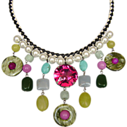 Glass pearls Swarovski aquamarine braided leather bib necklace