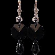 Black crystal Swarovski drop earrings silver ear wire.