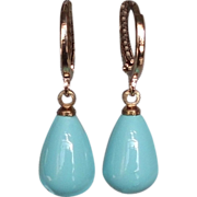 SOLD Turquoise blue drop earrings gold plated ear wire contemporary jewelry
