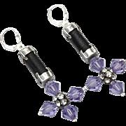 Violet Swarovski Austrian Crystal leather cross earrings statement  jewelry design