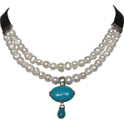 Leather choker pearl necklace turquoise pendant upscale jewelry