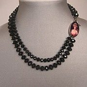 Black beads, image cameo, romantic choker. Fashion jewelry design.