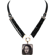 Mona Lisa ceramic cameo silver pendant Czech beads leather designer necklace