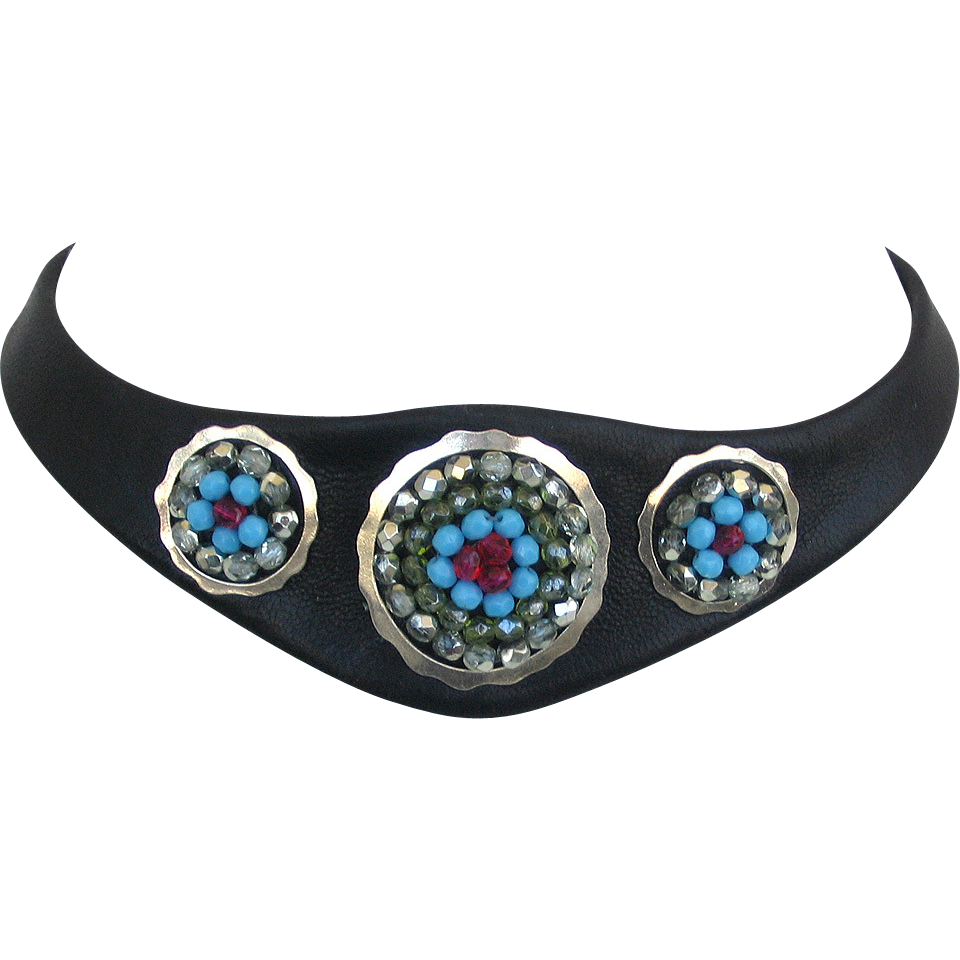 bold leather necklace choker silver rings