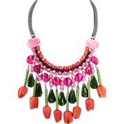 Orange vintage flowers green pink olive beads collar necklace designer jewelry