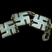 SALE PENDING Rare Antique Sterling Good Luck Swastika Enamel Watch Fob Pendant
