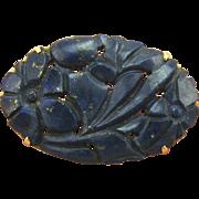 Genuine Antique Art Nouveau 14K Gold & Carved Lapis Pin