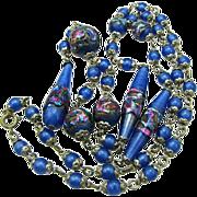 Art Deco Venetian Art Glass Foil Bead Necklace