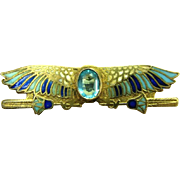 SALE PENDING 1920's Art Deco Arts Crafts Egyptian Revival Jeweled Enamel Winged Scarab Silver