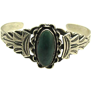 1940's Fred Harvey Era Navajo Sterling & Turquoise Bracelet