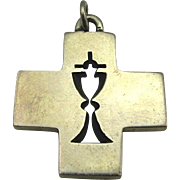 LG Rare James Avery Sterling Silver Cross / Chalice Pendant Charm