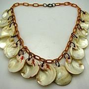 Art Deco Celluloid & Shells Dangle Charm Drop Necklace Loaded Dangling Fun