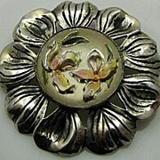 RARE STERLING & Goofus Glass Reverse Painted Floral Vintage Pin Brooch