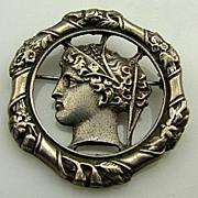 Extremely Rare HOBE GREEK GODDESS Sterling Silver Pin Brooch