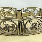 830 Silver Scandinavian Swedish Floral Retro Modernist Bracelet