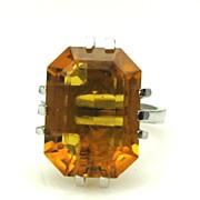 Very Unusual Modernist Polish Silver & Jeweled Emerald Cut Ring