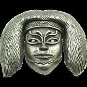 Big Bold Wild Vendome Asian Tribal Mask Pendant